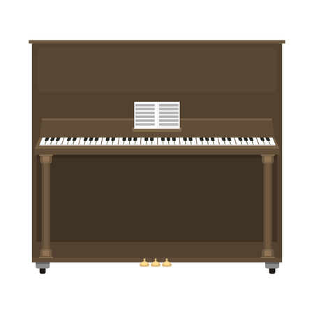 Grand piano musical keyboard classical instrument vector illustration.