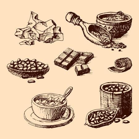 Vector cacao hand getekende schets illustratie.