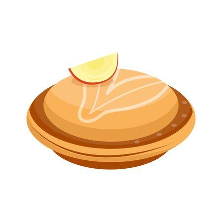 homemade: Homemade organic apple pie dessert vector illustration.
