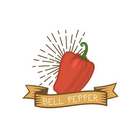 freshly: Red pepper badge vegetable food flat vector illustration. Illustration