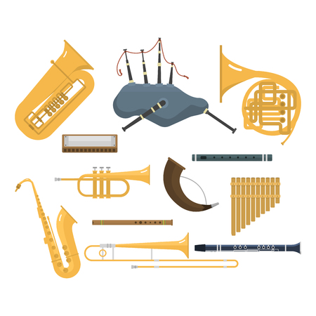 woodwind: Wind musical instruments vector.
