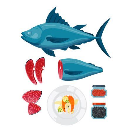 Sea food vector illustration.