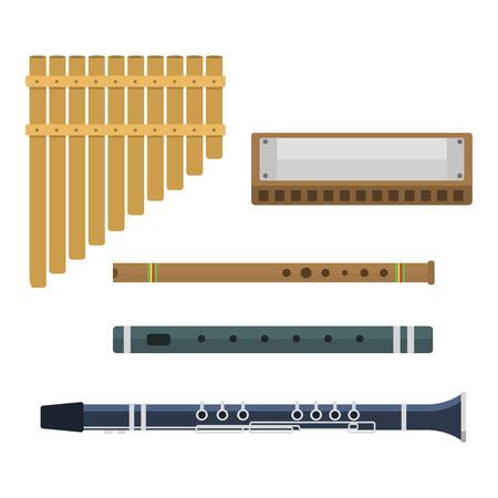 zampona: Instrumentos musicales aislados, en el fondo blanco. Blow estudio acústico equipos músico brillante estruendo. Orquesta trompeta instrumento de viento de madera de metal de sonido.