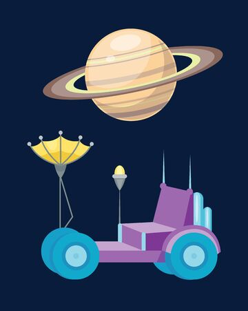 space antenna: Moonwalker with radar and manipulator spaceship vector icon. Illustration