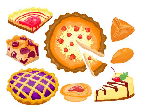Zelfgemaakte biologische taart dessert vector illustratie. Vector Illustratie
