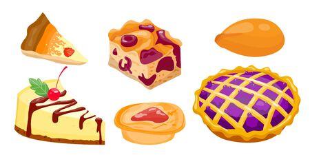 trozo de pastel: Homemade organic pie dessert vector illustration.