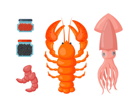 Lobster and squid vector flat illustration. Ilustracja