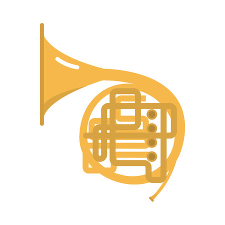 cornet: Trombone tuba trumpet classical sound vector illustration. Illustration