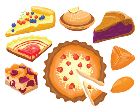 Homemade organic pie dessert vector illustration.