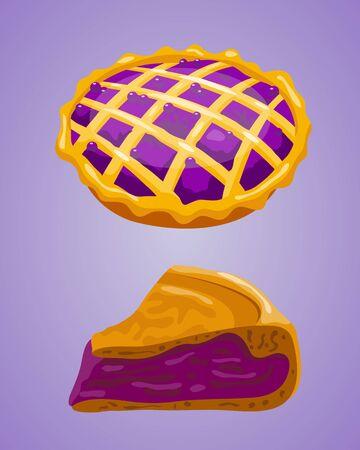 Homemade organic bilberry pie dessert vector illustration.