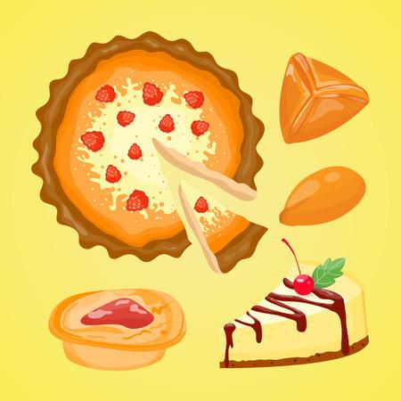 homemade: Homemade organic pie dessert vector illustration.
