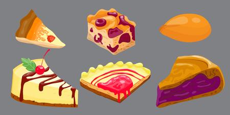 porcion de torta: Homemade organic pie dessert vector illustration.