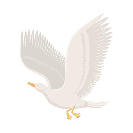 Cartoon gull flying bird vector illustration.