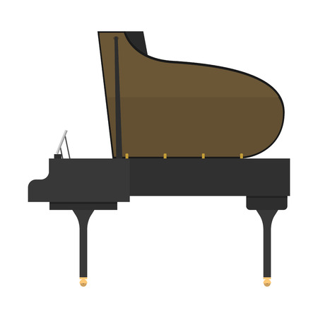 Black grand piano isolated vector illustration. Illustration
