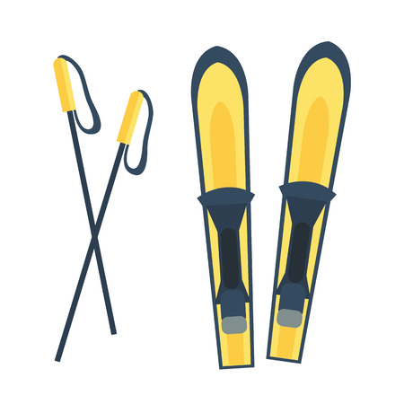 mountainside: Skiing winter seaso equipment vector illustration.