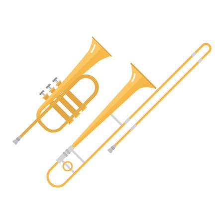 트롬본 튜 바 트럼펫 클래식 사운드 벡터 일러스트 레이 션.