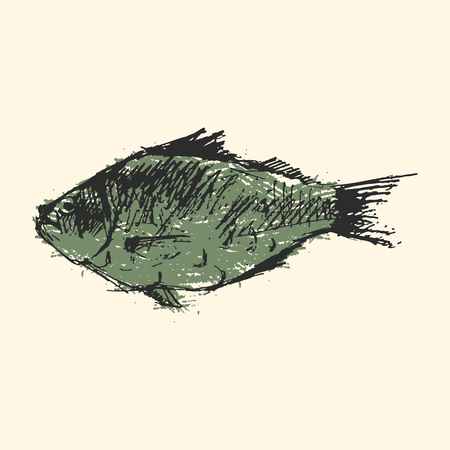 Craft sketch fish vector illustration.