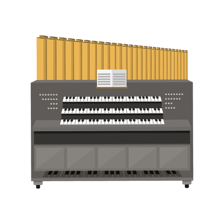 Old electronic piano organ vector illustration.