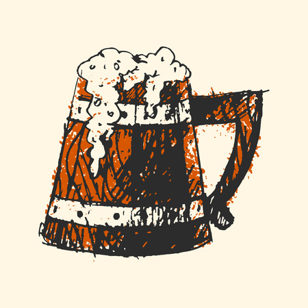 Craft beer wooden pub sketch vector illustration. Illustration