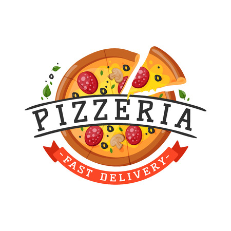 Delivery pizza badge vector illustration. Иллюстрация