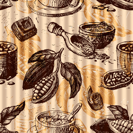 Seamless pattern with cocoa fruits monochrome chocolate texture for packaging, corporate identity, menu and hand drawn cacao ingredient vector illustration. Illustration