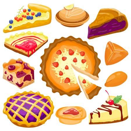 Cartoon cake pie isolated vector illustration.
