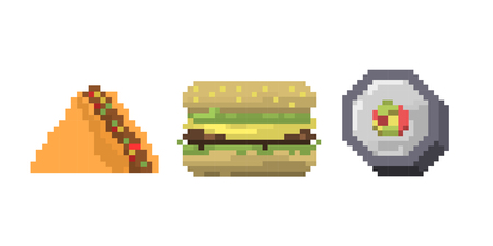 Pixel art fast food icons vector.