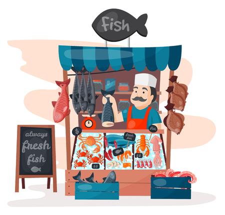 Retro winkel van de de winkelopslag van de vissenstraat met versheidszeevruchten in van de koelkast traditionele Aziatische maaltijd en man handelaar de vectorillustratie van de het vleesverkoper van de bedrijfspersoon.