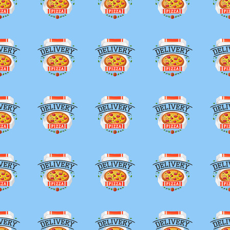 Delivery pizza seamless pattern vector illustration. Illustration
