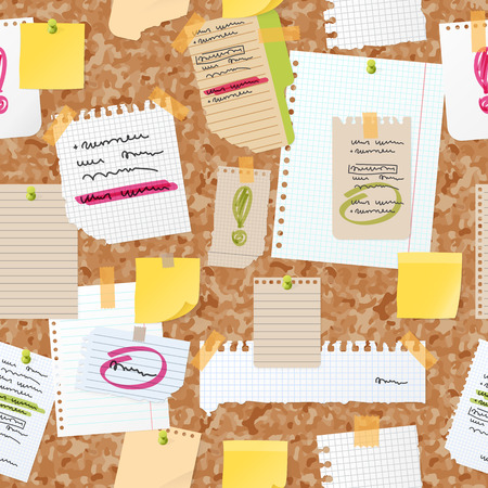 Sticker notes pined on board vector seamless pattern. Illustration