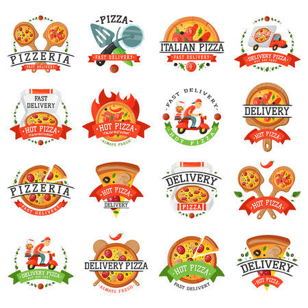 Delivery pizza badge vector illustration. 向量圖像