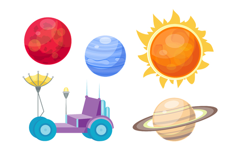 Astronomy space cartoon set vector.