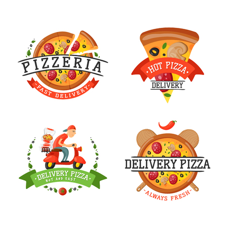 Levering pizza badge vector illustratie. Stock Illustratie