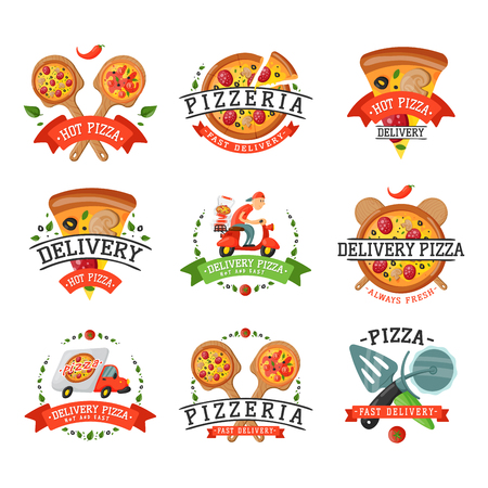 Levering pizza badge vectorillustratie. Stockfoto