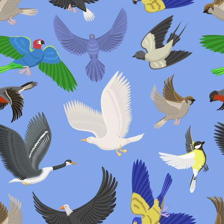 Set van verschillende vleugel wilde vliegende vogels naadloze patroon