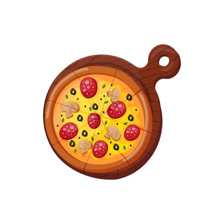 Hot fresh pizza icon vector illustration.