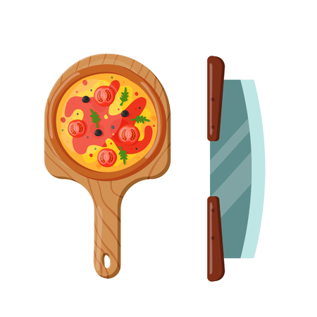 Italian cook pizza icon vector illustration. Pizzeria cartoon dinner icon fresh food. Fast party meal ingredients pepperoni element delicious symbols. Ilustração