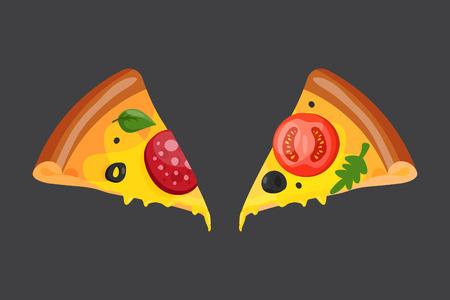 Hot fresh pizza slice icon vector illustration.