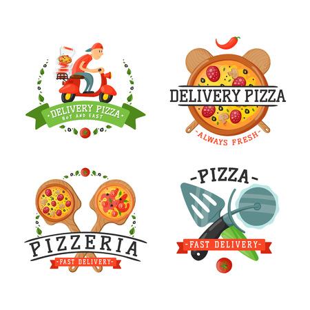 Delivery pizza badge illustration.