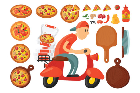 Italian cook pizza delivery boy illustration.