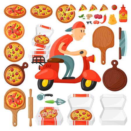 Italian cook pizza delivery boy pizzeria cartoon courier on motorbike and deliver dinner icon food box fast party meal scooter transport . Illustration