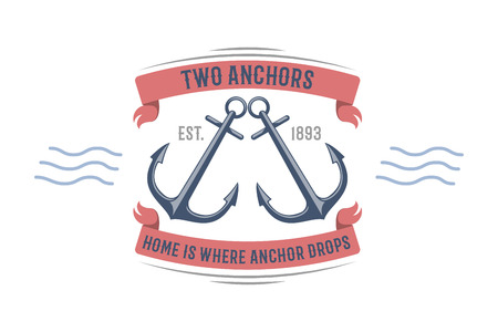 Anchor nautical and marine sailing themed label vector.