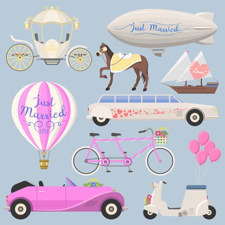 Wedding fashion transportation illustration. Traditional auto expensive retro ceremony bride transport. Romantic beauty groom automobile. Illusztráció