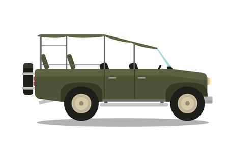 Vector safari travel compass, rifle, binoculars and jeep car.