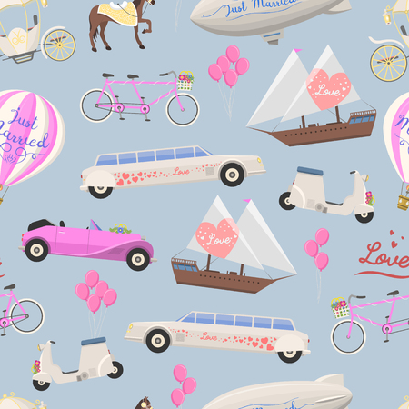 Wedding fashion transportation vector seamless pattern. Illusztráció