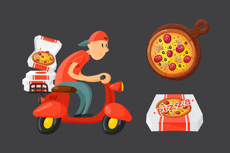 Italian cook pizza delivery boy vector illustration. Ilustração