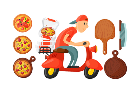 Italian cook pizza delivery boy vector illustration. Illustration