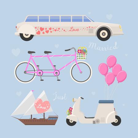 Wedding fashion transportation vector illustration.