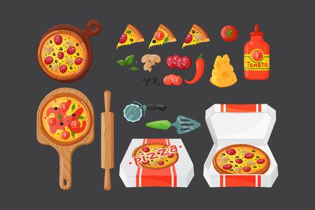 Italian cook pizza icons vector illustration.