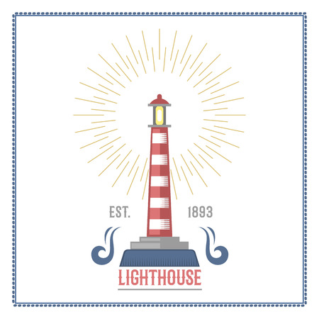ship steering wheel: Lighthouse nautical and marine sailing themed label vector. Illustration
